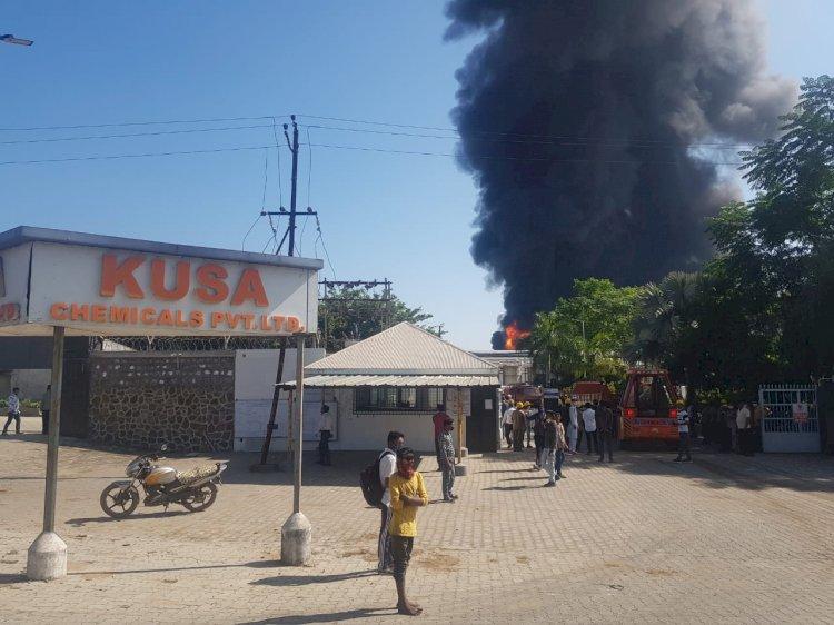 કેમિકલ કંપનીમાં ભીષણ આગ, ઘુમાડાના ગોટેગોટા કિલોમીટર દુર જોવા મળ્યા