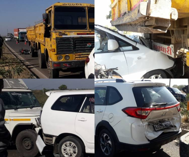 જામનગર-રાજકોટ હાઇવે પર ૭ વાહનો વચ્ચે સર્જાયો અકસ્માત