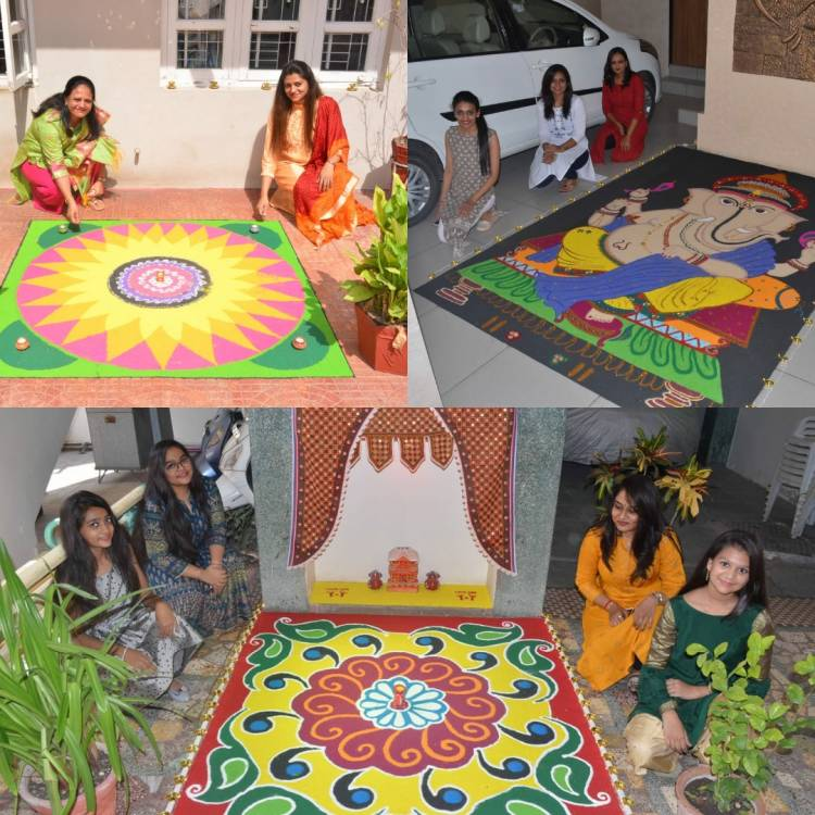 જામનગરની બહેનોએ બનાવી અદભૂત રંગોળીઓ...