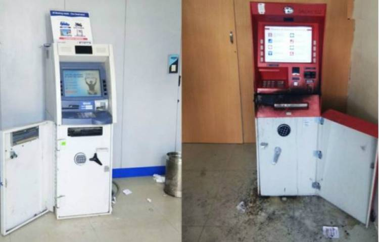 CCTV પર છાંટ્યો કાળો સ્પ્રે અને ગેસ કટરથી 6 કલાકમાં બે ATM લૂંટ્યા